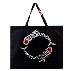 Abstract Fishes Zipper Large Tote Bag by Valentinaart