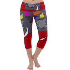 Red Abstraction By Moma Capri Yoga Leggings by Valentinaart