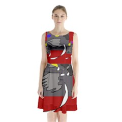 Red Abstraction By Moma Sleeveless Waist Tie Dress