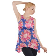 Pink Daisy Pattern Side Drop Tank Tunic by DanaeStudio