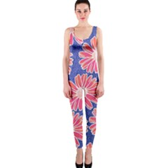 Pink Daisy Pattern Onepiece Catsuit by DanaeStudio