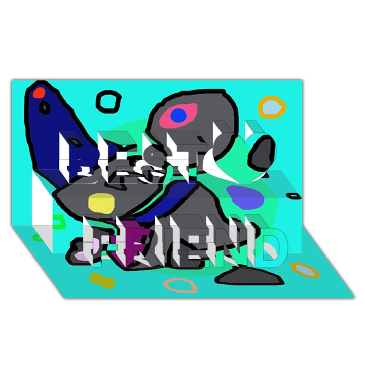 Blue comic abstract Best Friends 3D Greeting Card (8x4)
