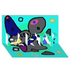 Blue Comic Abstract Party 3d Greeting Card (8x4) by Valentinaart