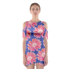 Pink Daisy Pattern Women s Cutout Shoulder One Piece by DanaeStudio