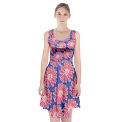 Pink Daisy Pattern Racerback Midi Dress by DanaeStudio