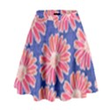 Pink Daisy Pattern High Waist Skirt View1