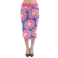 Pink Daisy Pattern Midi Pencil Skirt by DanaeStudio