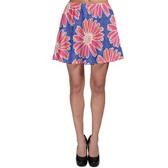 Pink Daisy Pattern Skater Skirt by DanaeStudio
