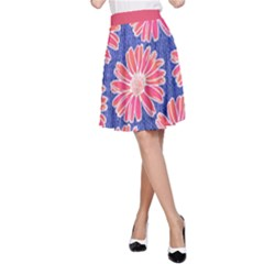 Pink Daisy Pattern A-line Skirt by DanaeStudio
