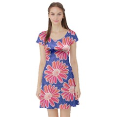 Pink Daisy Pattern Short Sleeve Skater Dress by DanaeStudio
