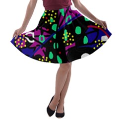 Abstract Colorful Chaos A Line Skater Skirt by Valentinaart