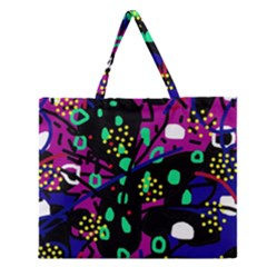 Abstract Colorful Chaos Zipper Large Tote Bag by Valentinaart