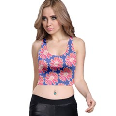 Pink Daisy Pattern Racer Back Crop Top by DanaeStudio