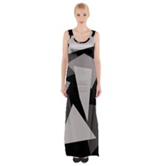 Simple Gray Abstraction Maxi Thigh Split Dress
