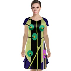 Crazy Abstraction By Moma Cap Sleeve Nightdress by Valentinaart