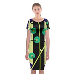 Crazy Abstraction By Moma Classic Short Sleeve Midi Dress by Valentinaart