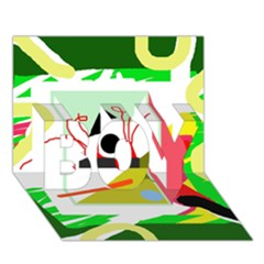 Green Abstract Artwork Boy 3d Greeting Card (7x5)