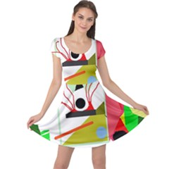 Green Abstract Artwork Cap Sleeve Dresses by Valentinaart