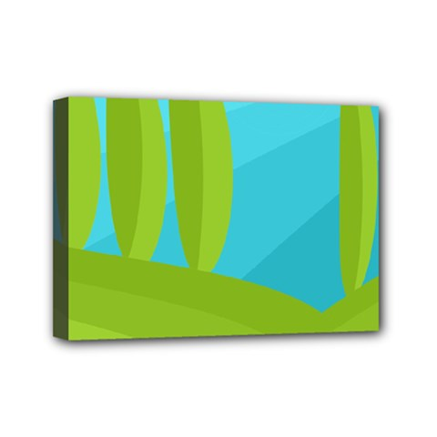 Green And Blue Landscape Mini Canvas 7  X 5  by Valentinaart