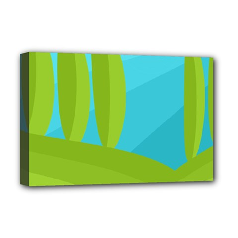 Green And Blue Landscape Deluxe Canvas 18  X 12   by Valentinaart