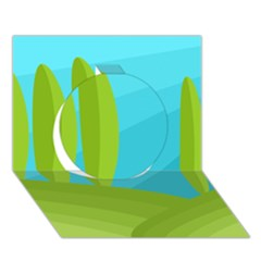 Green And Blue Landscape Circle 3d Greeting Card (7x5) by Valentinaart