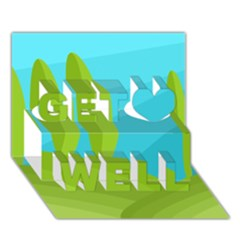 Green And Blue Landscape Get Well 3d Greeting Card (7x5)
