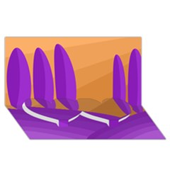 Orange And Purple Landscape Twin Heart Bottom 3d Greeting Card (8x4) by Valentinaart