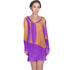 Orange And Purple Landscape Long Sleeve Nightdress