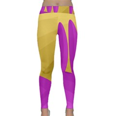 Yellow And Magenta Landscape Yoga Leggings  by Valentinaart