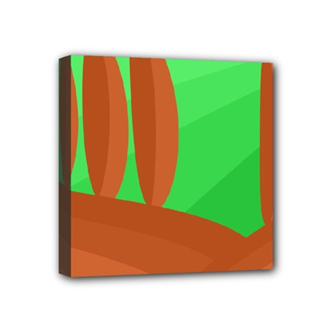 Green And Orange Landscape Mini Canvas 4  X 4  by Valentinaart