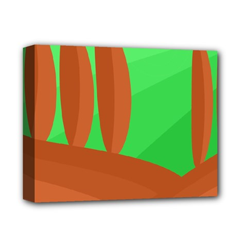 Green And Orange Landscape Deluxe Canvas 14  X 11  by Valentinaart