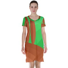 Green And Orange Landscape Short Sleeve Nightdress by Valentinaart