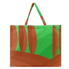 Green And Orange Landscape Zipper Large Tote Bag by Valentinaart