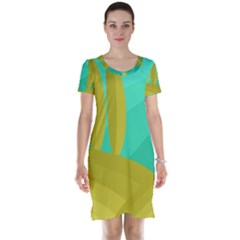 Green And Yellow Landscape Short Sleeve Nightdress by Valentinaart