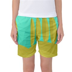 Green And Yellow Landscape Women s Basketball Shorts by Valentinaart