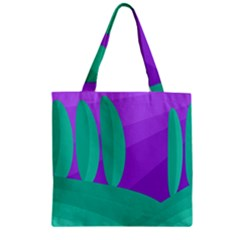 Purple And Green Landscape Zipper Grocery Tote Bag