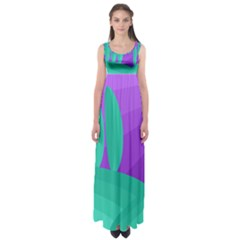Purple And Green Landscape Empire Waist Maxi Dress by Valentinaart