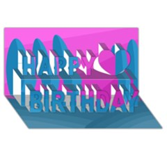 Pink And Blue Landscape Happy Birthday 3d Greeting Card (8x4) by Valentinaart
