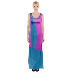 Pink And Blue Landscape Maxi Thigh Split Dress by Valentinaart