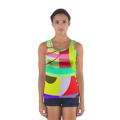 Colorful Abstraction By Moma Women s Sport Tank Top  by Valentinaart