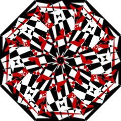 Red, Black And White Chaos Straight Umbrellas by Valentinaart