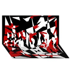 Red, Black And White Chaos #1 Dad 3d Greeting Card (8x4) by Valentinaart