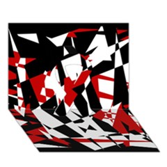 Red, Black And White Chaos Ribbon 3d Greeting Card (7x5)