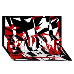 Red, Black And White Chaos Believe 3d Greeting Card (8x4) by Valentinaart