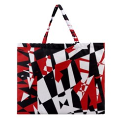 Red, Black And White Chaos Zipper Large Tote Bag by Valentinaart