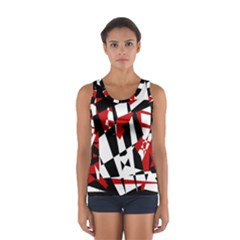 Red, Black And White Chaos Women s Sport Tank Top  by Valentinaart