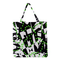 Black, White And Green Chaos Grocery Tote Bag by Valentinaart