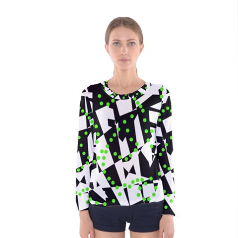 Black, White And Green Chaos Women s Long Sleeve Tee by Valentinaart