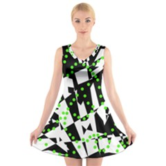 Black, White And Green Chaos V Neck Sleeveless Skater Dress by Valentinaart