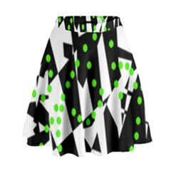 Black, White And Green Chaos High Waist Skirt by Valentinaart